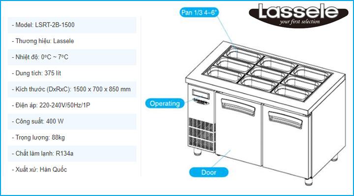 Thông tin chi tiết về bàn mát salad Lassele LSRT-2B-1500
