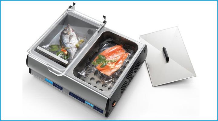 Máy hút chân không Sirman EASYSOFT có thiết kế gọn gàng, tích hợp giữa máy hút chân không và máy nấu chậm