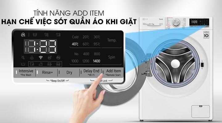 Tính năng Add Item của máy giặt FV1408G4W để thêm quần áo khi đang giặt