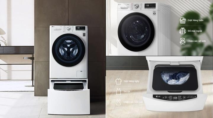 Máy giặt LG FV1450S3W có tính năng tương thích kêt hợp với máy giặt TWINWash Mini