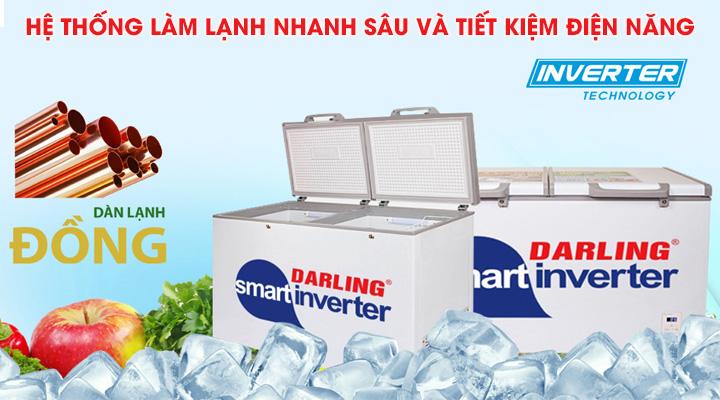Tủ đông mát Darling DMF-2699WSI có hệ thống làm lạnh nhanh sâu và tiết kiệm điện năng