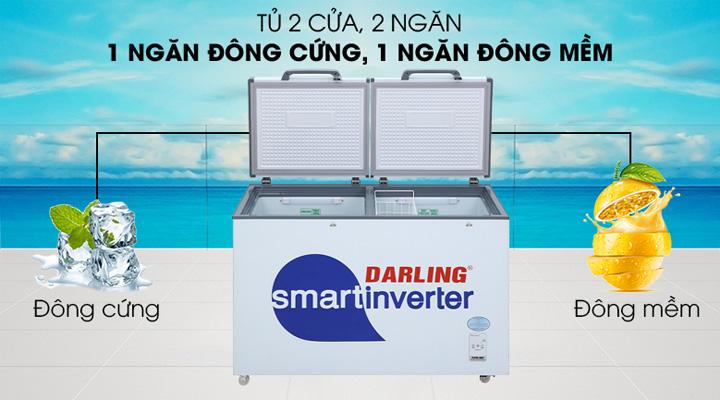 Tủ đông mát Darling DMF-4699WSI-4 có 2 ngăn đông mềm và đông cứng