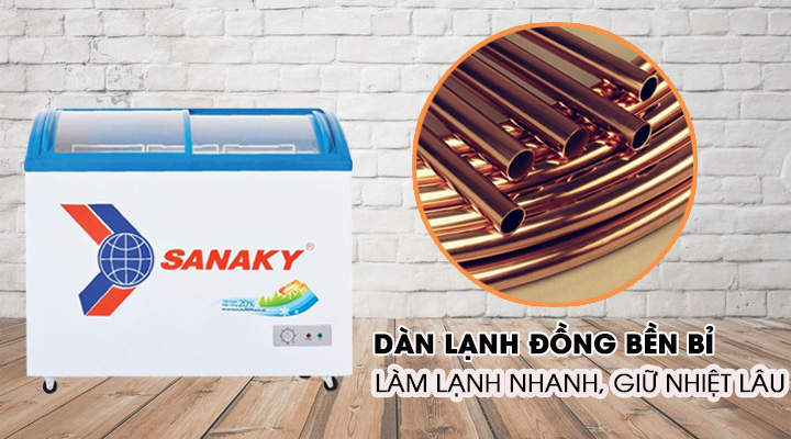 Tủ đông Sanaky VH-6899K trang bị dàn lạnh đồng làm lạnh nhanh, giữ nhiệt lâu