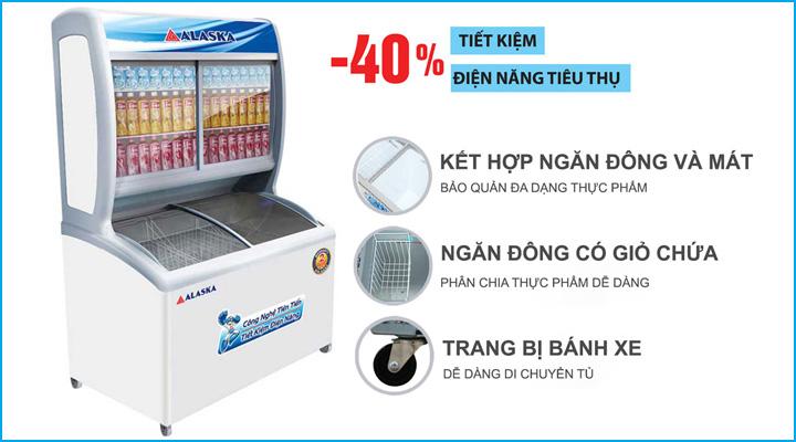 Tủ đông mát Alaska SFC-500 có thiết kế tiện lợi,làm lạnh tối ưu