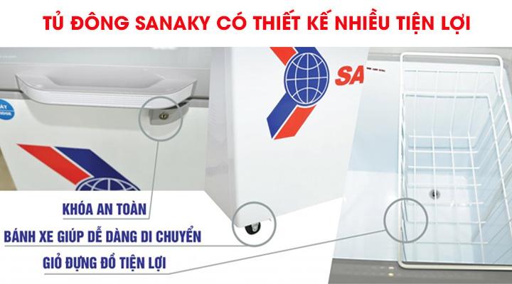 Tủ đông nắp dở Sanaky VH-225HY2 có thiết kế nhiều tiện lợi