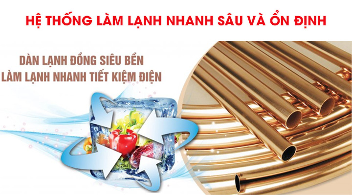 Tủ đông Sanaky VH-2599HY sử dụng hệ thống làm  lạnh bằng dàn lạnh đồng
