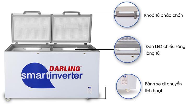 Tủ đông mát Darling Inverter DMF-4699WSI có thiết kế tiện lợi, dễ sử dụng
