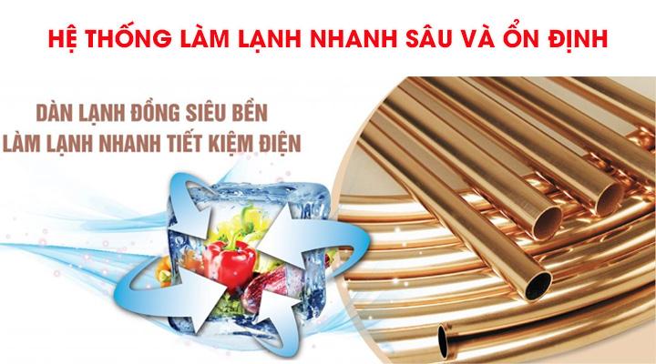 Hệ thống dàn lạnh bằng ống đồng của tủ mát Sanaky giúp làm lạnh nhanh sâu