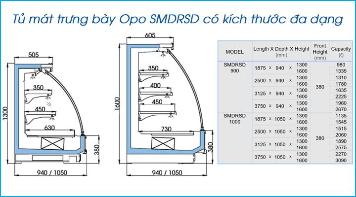 Tủ mát trưng bày Opo SMDRSD có kích thước đa dạng