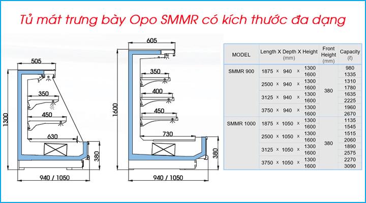 Tủ mát trưng bày Opo SMMR có kích thước đa dạng