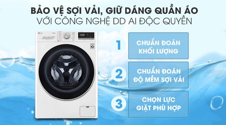 Máy giặt sấy LG FV1408G4W ứng dụng công nghệ thông minh AI