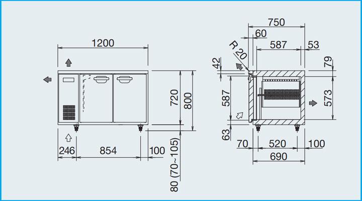 Bản vẽ Bàn đông inox Panasonic SUF-1271FC-E 1m2