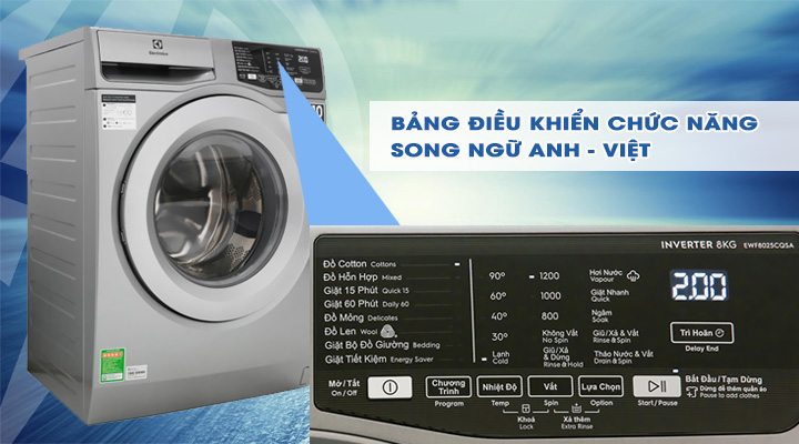 Bảng điều khiển Máy giặt Electrolux Inverter EWF8025CQSA 8 kg