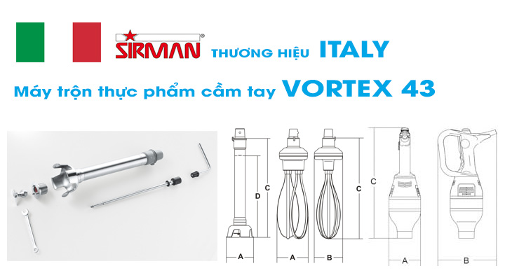 Chi tiết Máy trộn thực phẩm cầm tay Sirman VORTEX 43