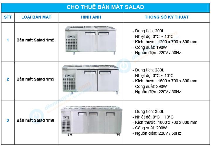 Cho thuê bàn mát Salad