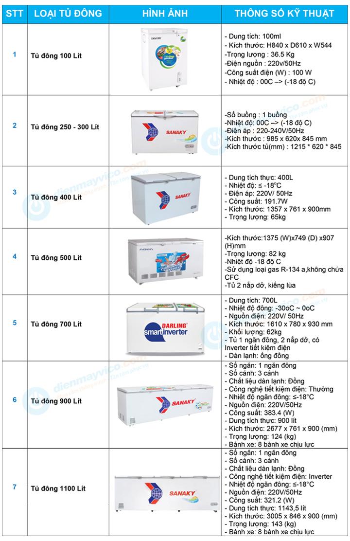 Danh sách cho thuê tủ đông nắp dỡ