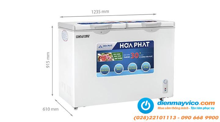 Kích thước Tủ đông mát Funiki Hòa Phát HCF 606S2N2 245 lít
