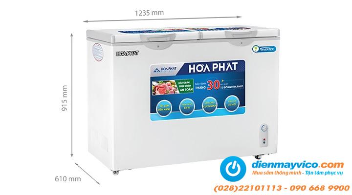 Kích thước Tủ đông mát Funiki Hòa Phát HCFI 606S2Đ2 Inverter 245 lít