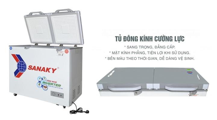 Mặt kính Tủ đông mát kính cường lực Sanaky Inverter VH-3699W4K 260 lít