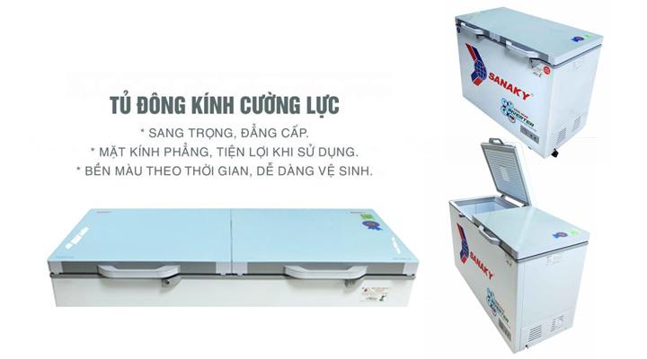 Mặt kính Tủ đông mát kính cường lực Sanaky Inverter VH-4099W4KD 280 lít