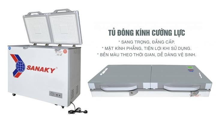 Mặt kính Tủ đông mát kính cường lực Sanaky VH-2899W2K 230 lít