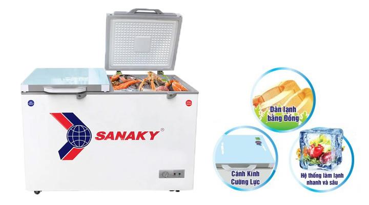 Mô tả Tủ đông kính cường lực Sanaky VH-2599A2KD 208 lít