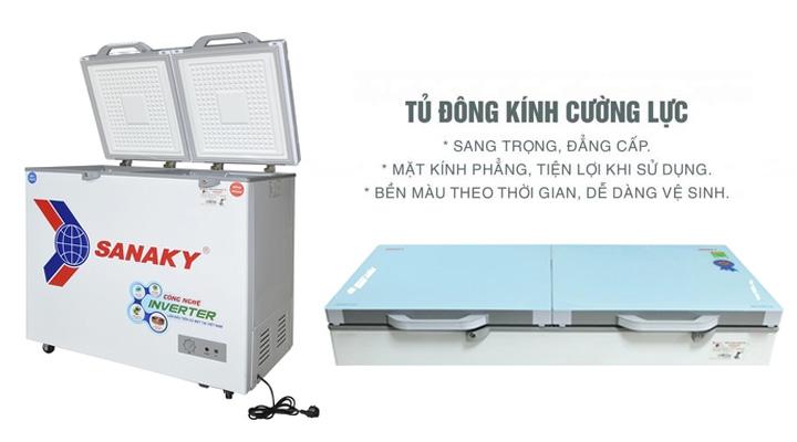 Mặt kính Tủ đông mát kính cường lực Sanaky Inverter VH-2599W4KD 195 lít