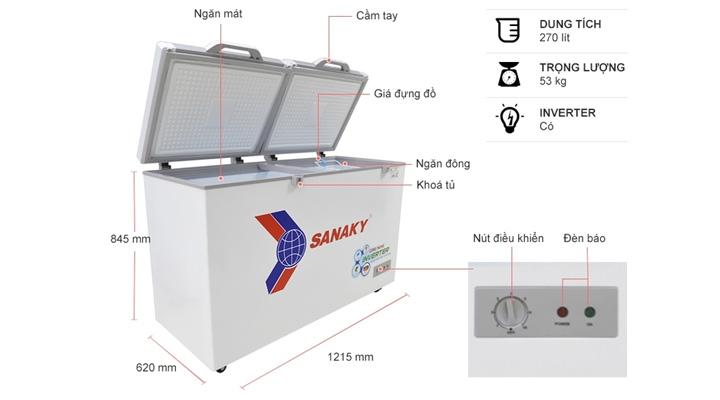 Mô tả Tủ đông kính phẳng Sanaky Inverter VH-3699A4KD 270 lít