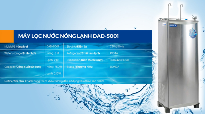 Nội dung Máy lọc nước nóng lạnh DONGA DAD-5001