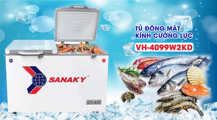 Tủ đông mát kính cường lực Sanaky VH-4099W2KD 300 lít