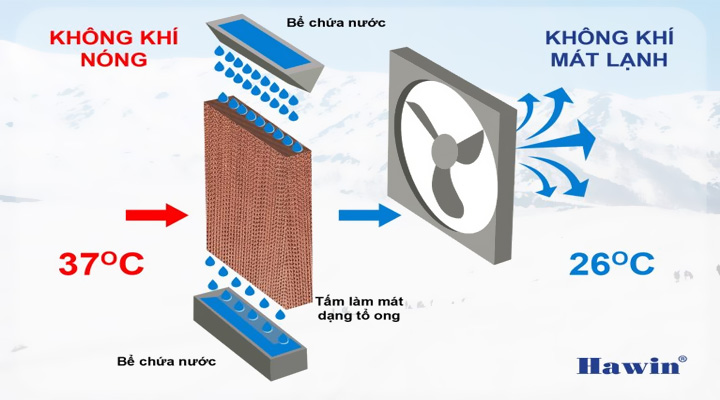 Tấm lọc Quạt làm mát hơi nước Hawin HSN-120