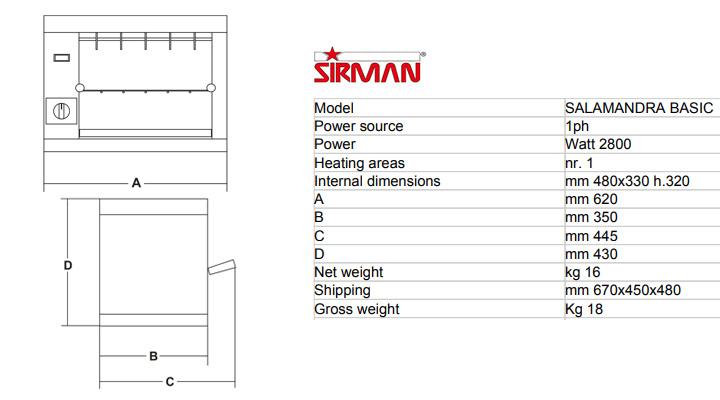 Thông số Bếp nướng Sirman Salamandra Basic
