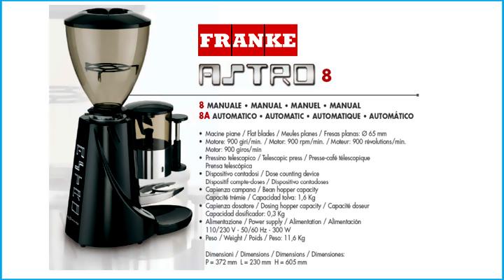 Thông số Máy xay cà phê tự động Astro 8 Franke
