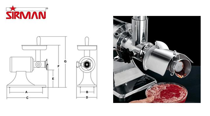 Thông số Máy xay thịt Sirman TC12E