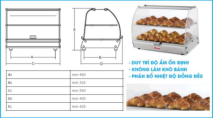 Thông số Tủ giữ nóng thực phẩm Sirman VISTA P2