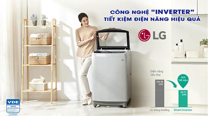 Tiết kiệm điện Máy giặt LG Inverter T2555VS2M 15.5 kg