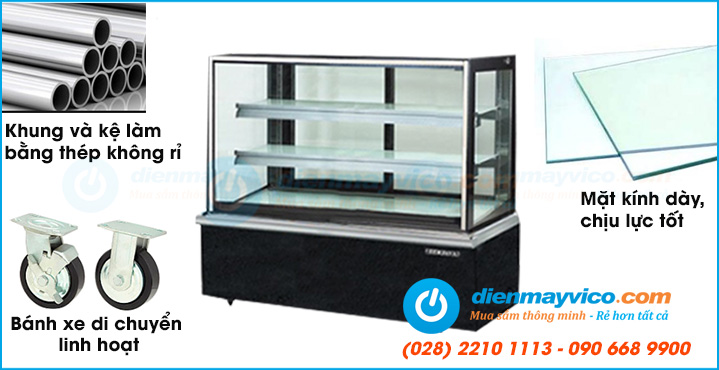 Tủ trưng bày bánh kem kính vuông BERJAYA nhập khẩu với chất lượng cao và giá tốt