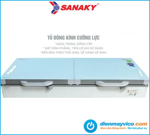 Tủ đông mát kính cường lực Sanaky Inverter VH-2599W4KD 195 lít