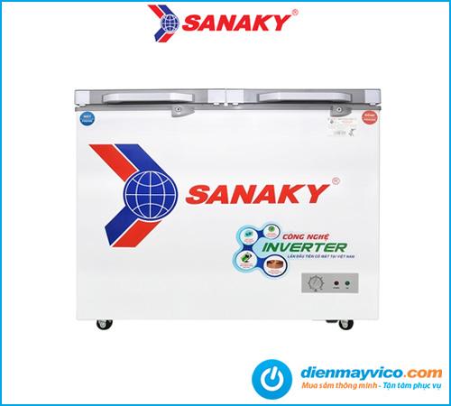 Tủ đông mát kính cường lực Sanaky Inverter VH-2599W4KD 195 lít.