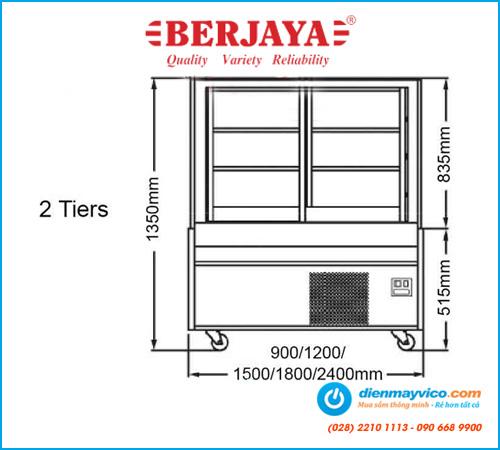 Tủ bánh kem kính cong Berjaya CCS-09SS-2 (0.9m)