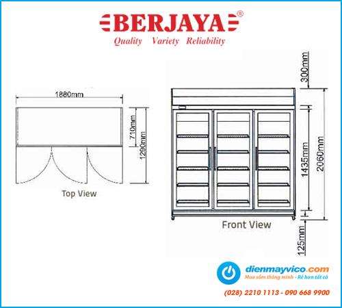 Tủ đông/mát Berjaya 3 cánh kính 3D/D2C1F-SM