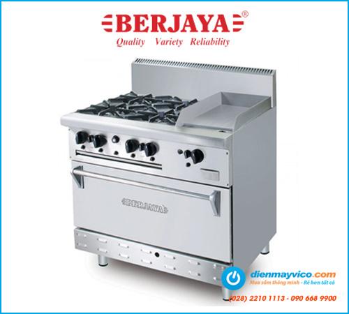 Bếp Âu 4 họng có lò nướng và bếp chiên phẳng Berjaya OB4GG1BWOL