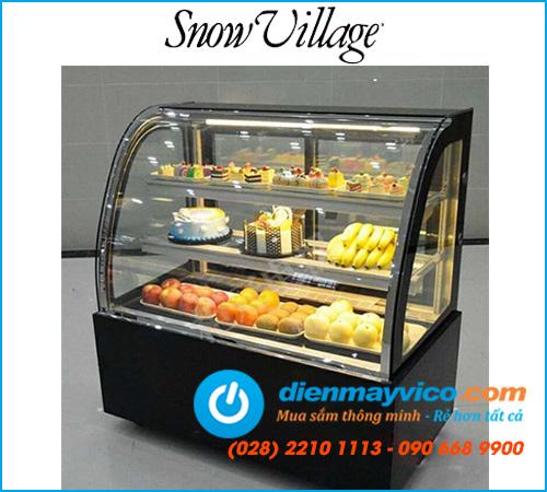 Tủ bánh kem kính cong Snow Village 1m5