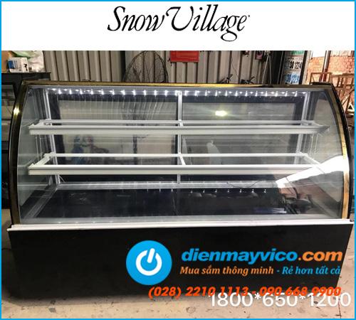 Tủ bánh kem kính cong Snow Village 1m8