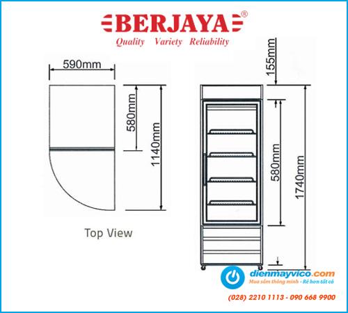 Tủ mát 1 cánh kính Berjaya 1D/DC-B-H-J